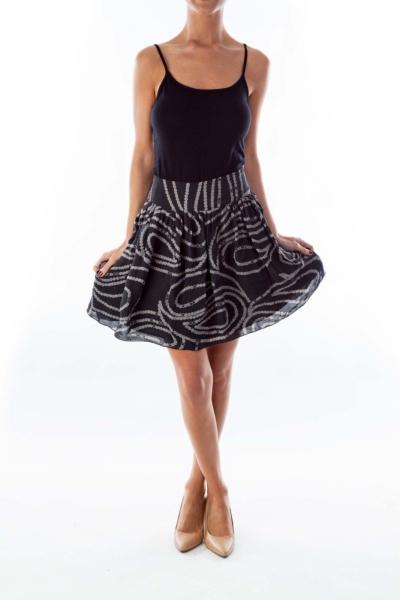 Gray Print Skirt