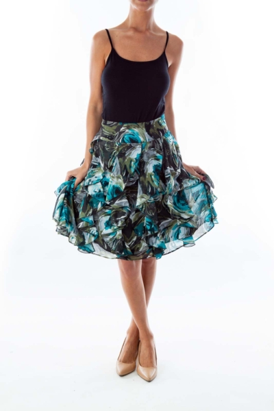 Turquoise Floral Skirt