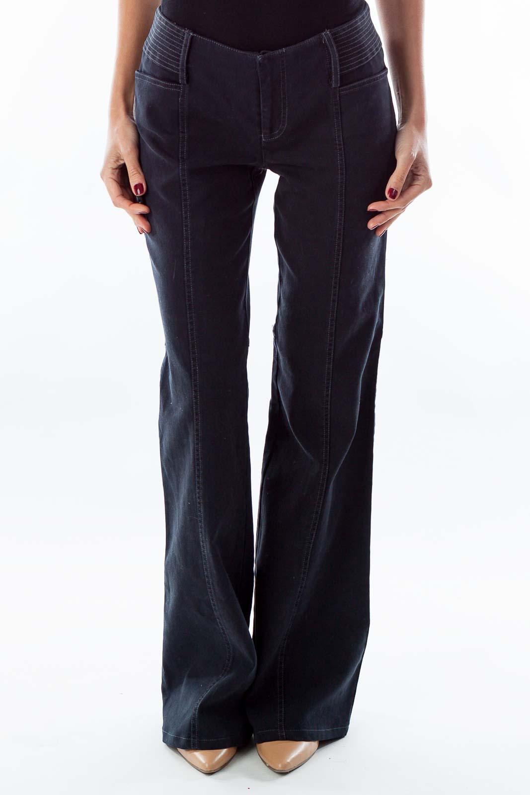 Navy Corduroy Bell-Bottom Pants