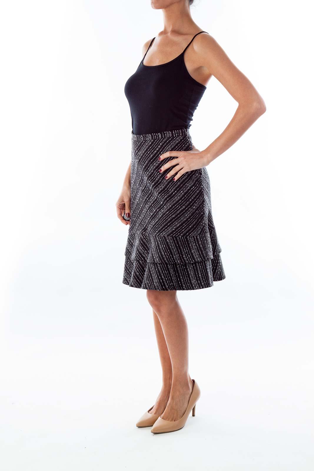 Black A-Line Speckled Skirt