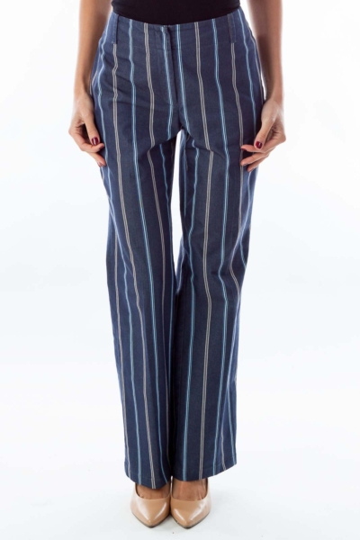Navy Striped Straight-Leg Pants