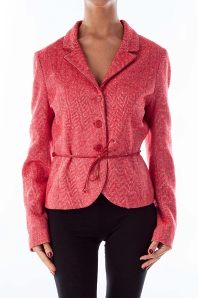 Red Tweed Belted Coat