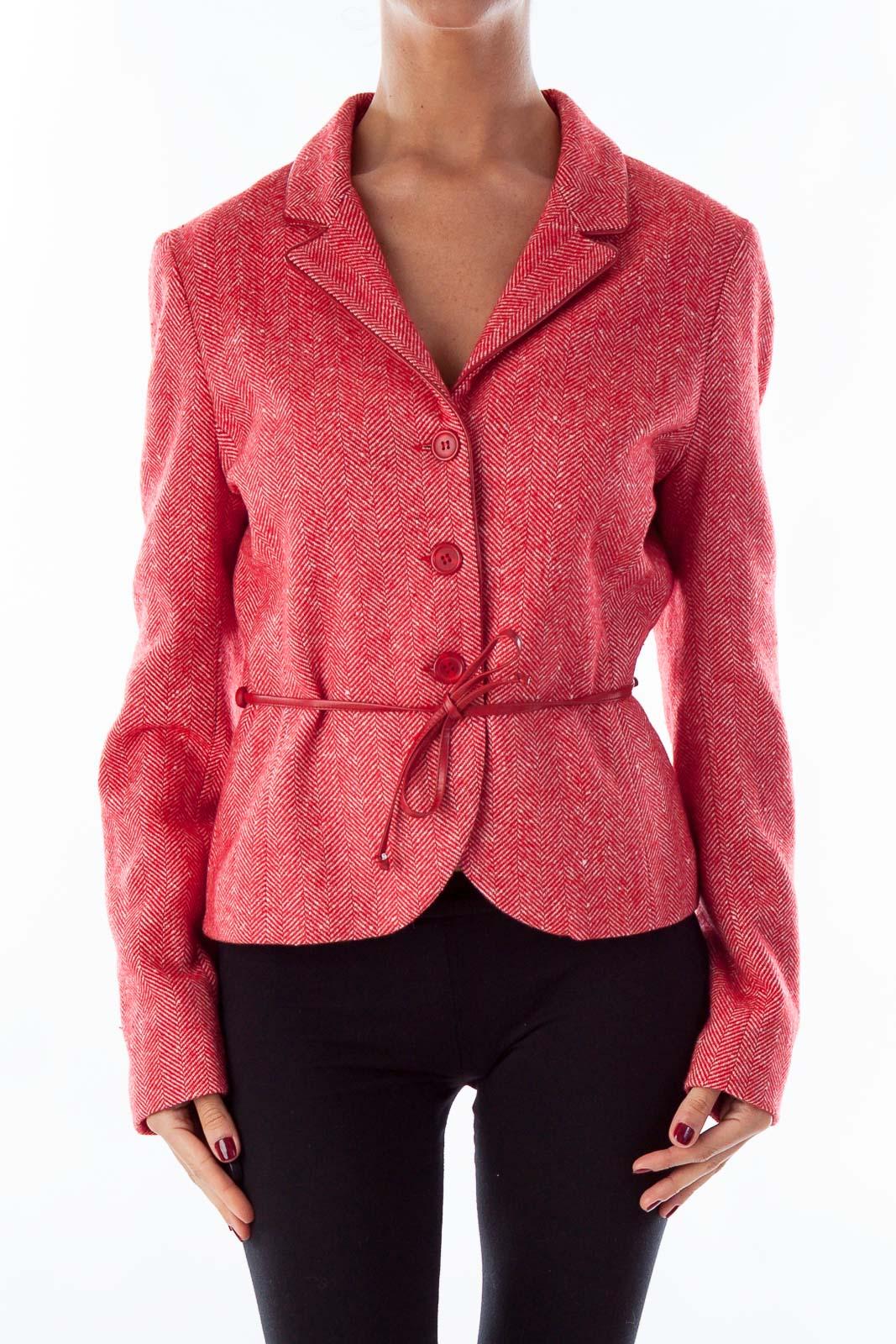Red Tweed Belted Coat