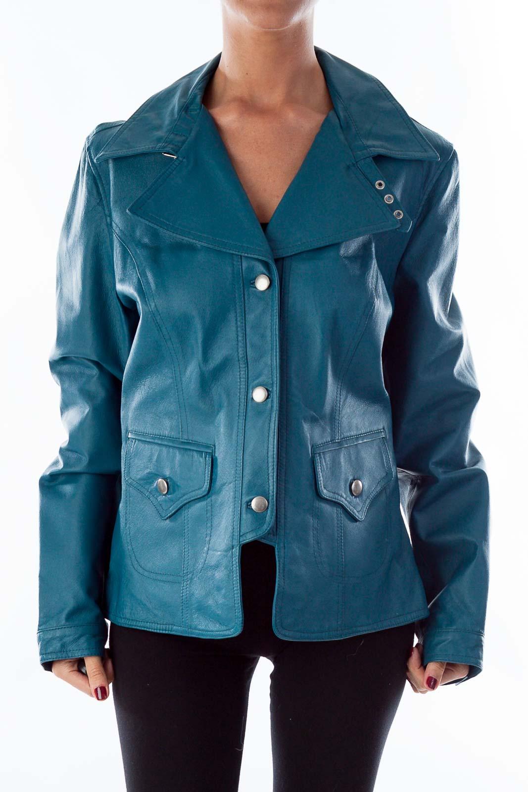 Turquoise Leather Jacket