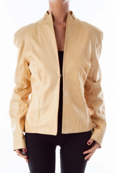 Gold Embroidered Vintage Pleather Jacket