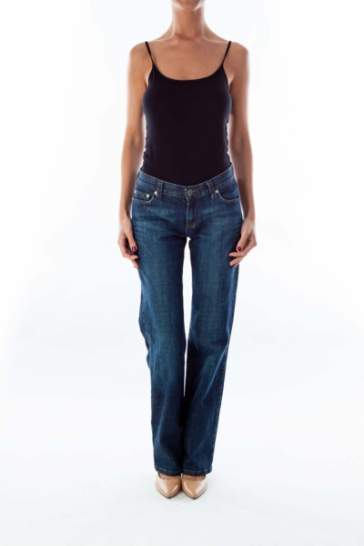 Dark Blue Boot-Cut Jeans
