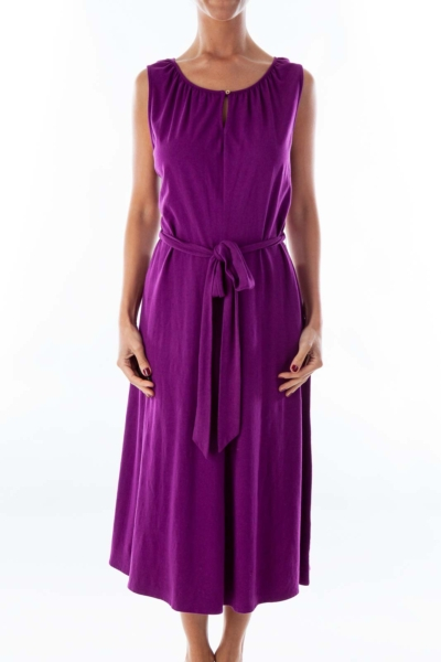 Purple Belted Day Dress