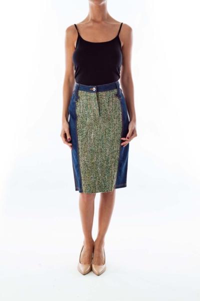 Blue Denim & Tweed Pencil Skirt