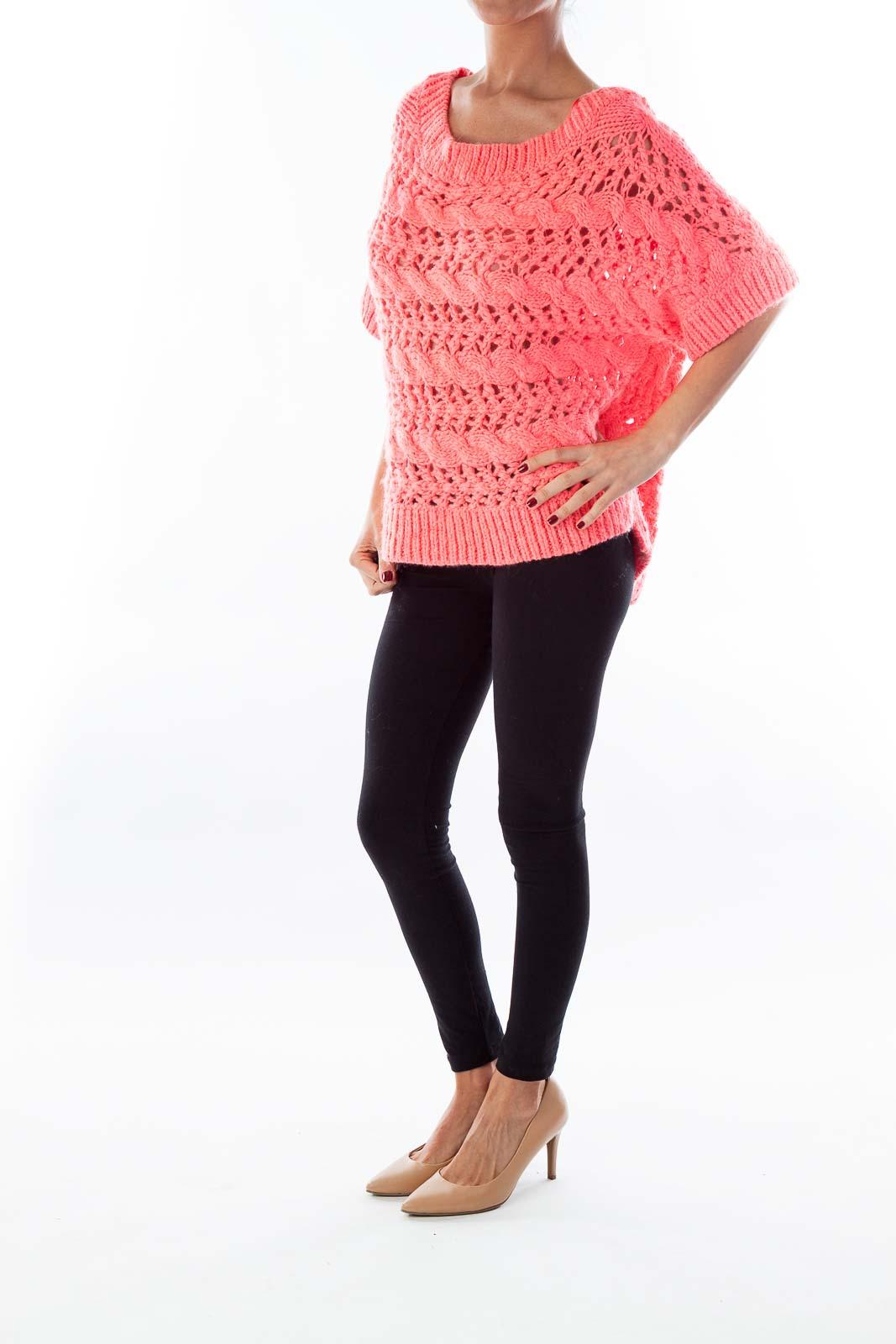 Hot Pink Short Sleeve Sweater [M] - SilkRoll