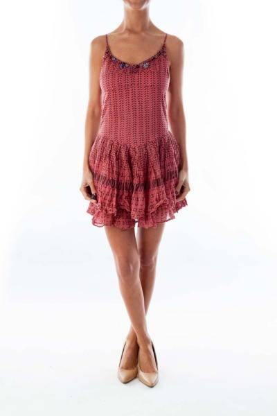 Pink Beaded Summer Dress