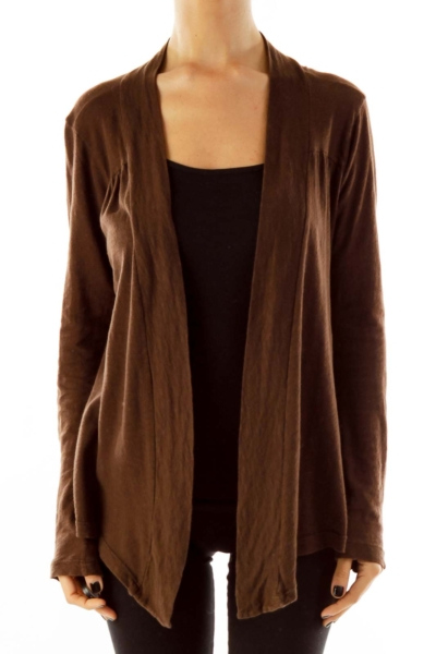 Brown Jersey Cardigan