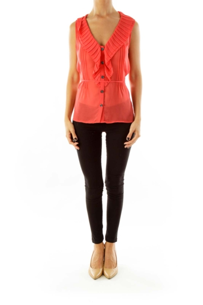 Coral Button-Up Sleeveless Blouse