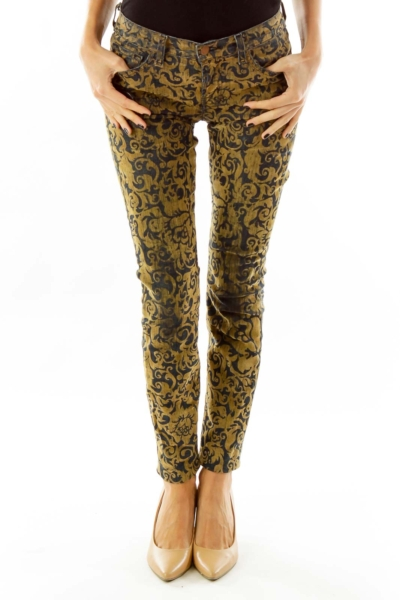 Mustard Yellow Velvet Denim Pants
