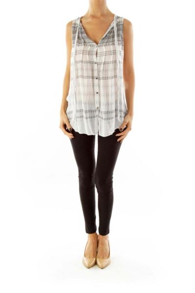 White & Black Sleeveless Print Top