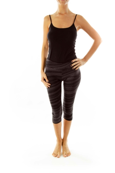 Black & Grey Print Yoga Pants