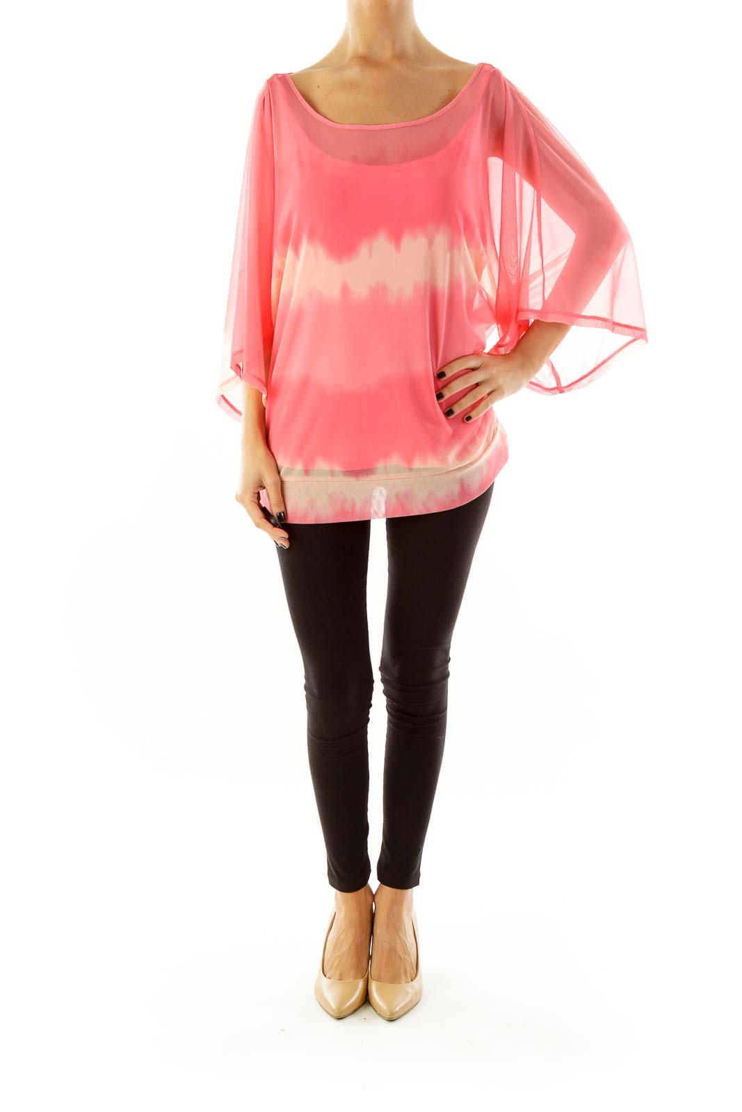 Pink & Beige Tie-Dye Print Blouse
