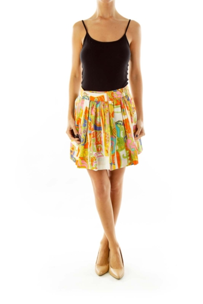Multicolor Pleated Skirt