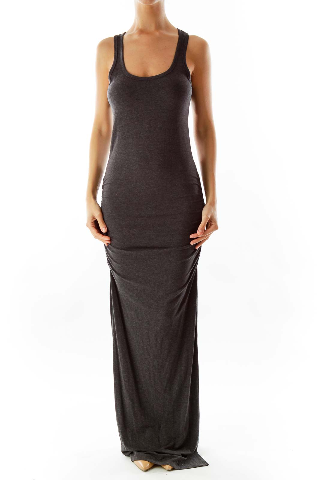 Gray Fitted Day Dress
