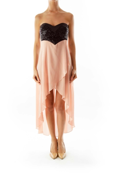 Black & Salmon Sequined High Low Dress