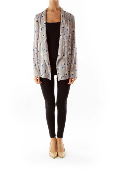 Grey Flower Print Open Faced Cardigan