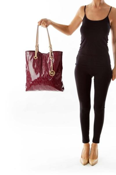 Burgundy Patent Leather Monogram Bag