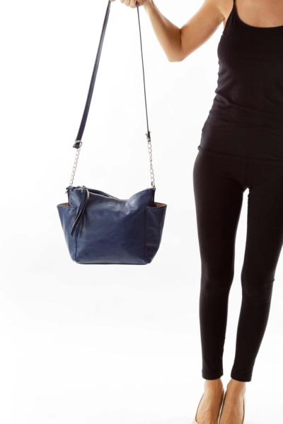 Navy Leather Cross Body Bag