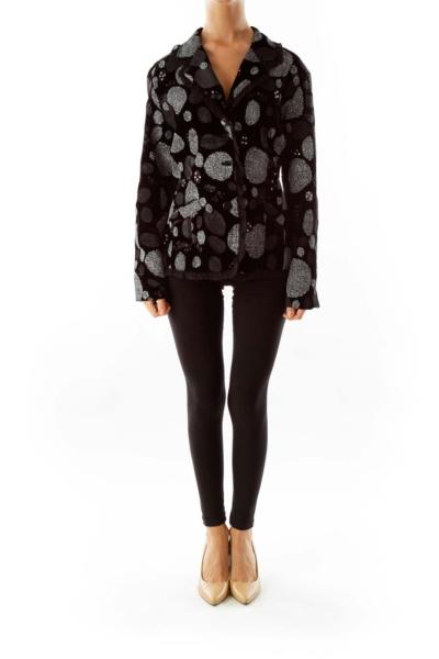 Black Velvet Printed Blazer