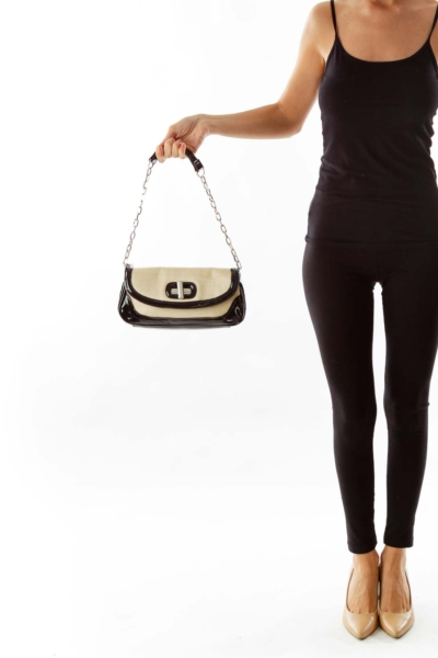 Beige & Black Patent & Woven Shoulder Bag