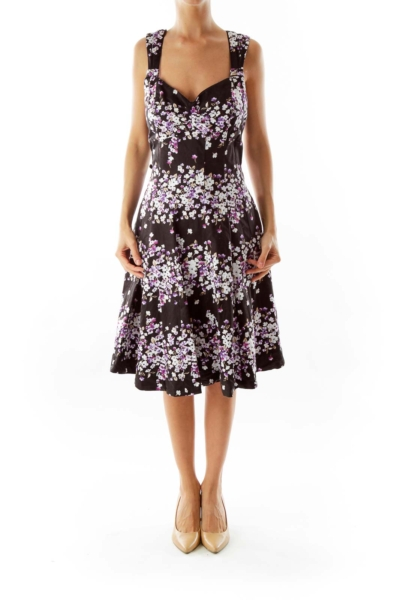 Black & Purple Flower Print Dress