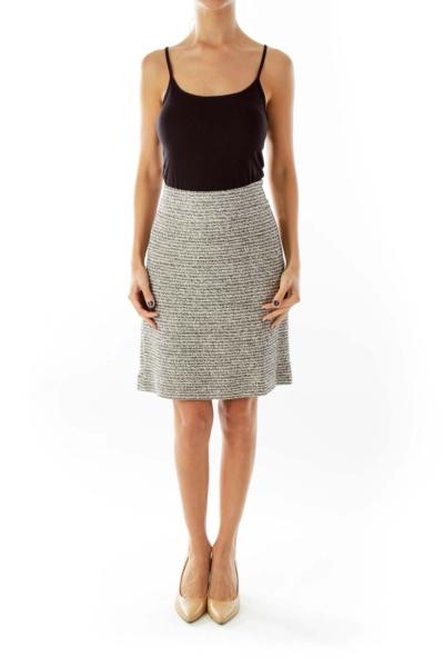 Black & Cream Sparkle Stripe Suit Skirt