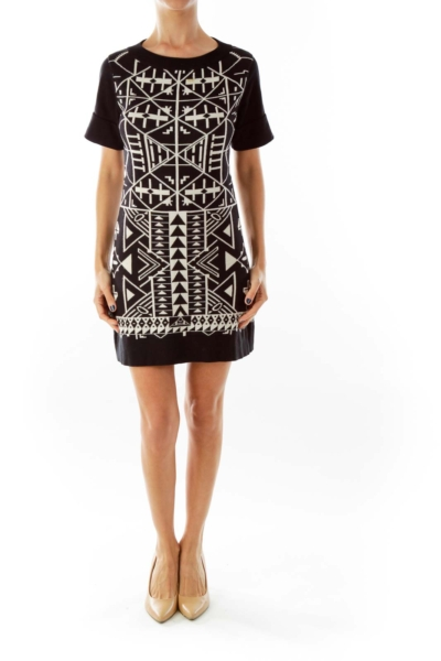 Black Beige Geometric Print Dress*