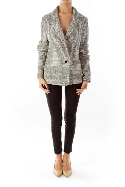 Black & Cream Sparkle Striped Suit Jacket