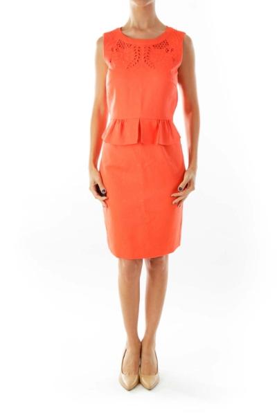 Orange Embroidered Dress