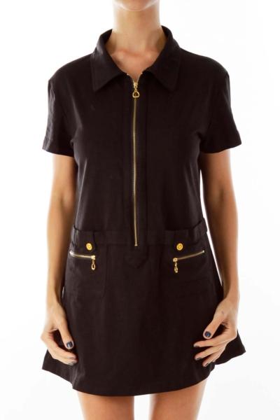 Black Pocketed Shirt Dress