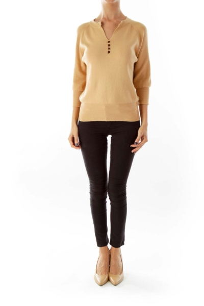 Beige Knit V-neck Sweater