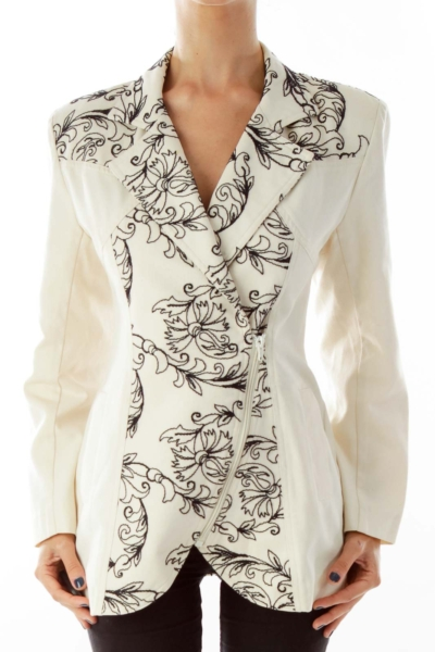 Beige & Black Floral Jacket