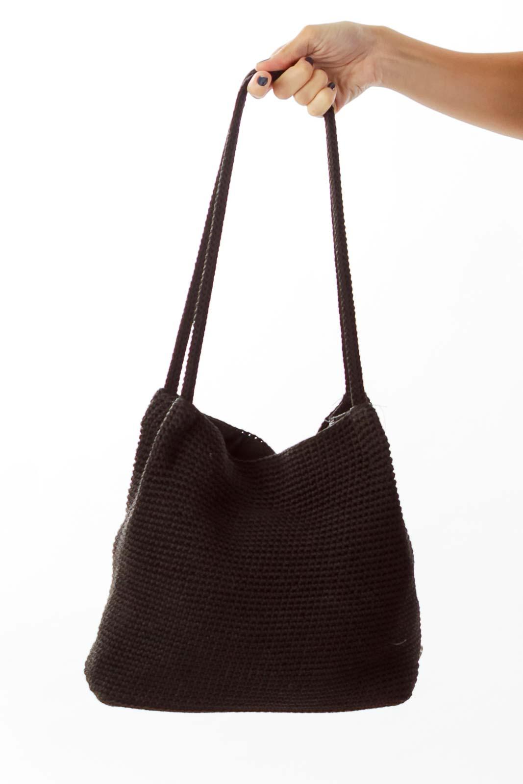 Black Woven Shoulder Bag