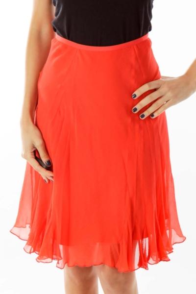 Red Silk Ruffled Skirt