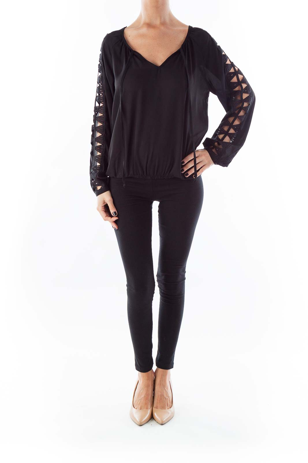 Black Open Sleeve Blouse