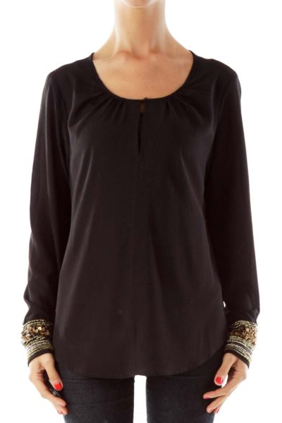 Black Loose Blouse, Beaded Detail Sleeve