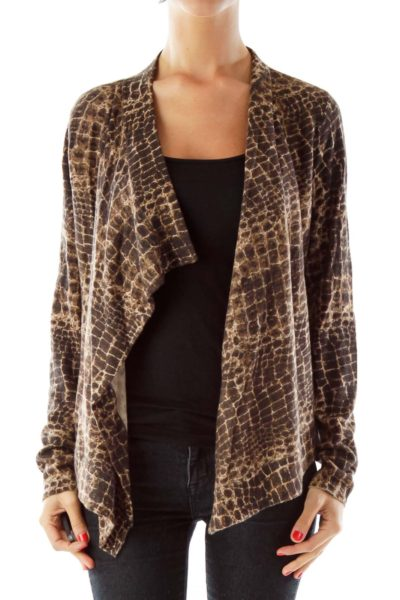 Brown Snake Skin Print Cardigan
