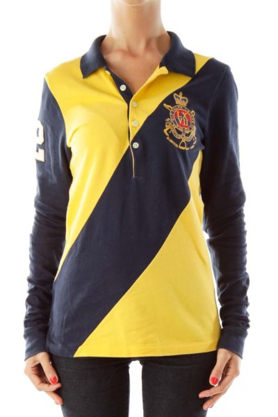 Yellow Navy Embroidered Polo