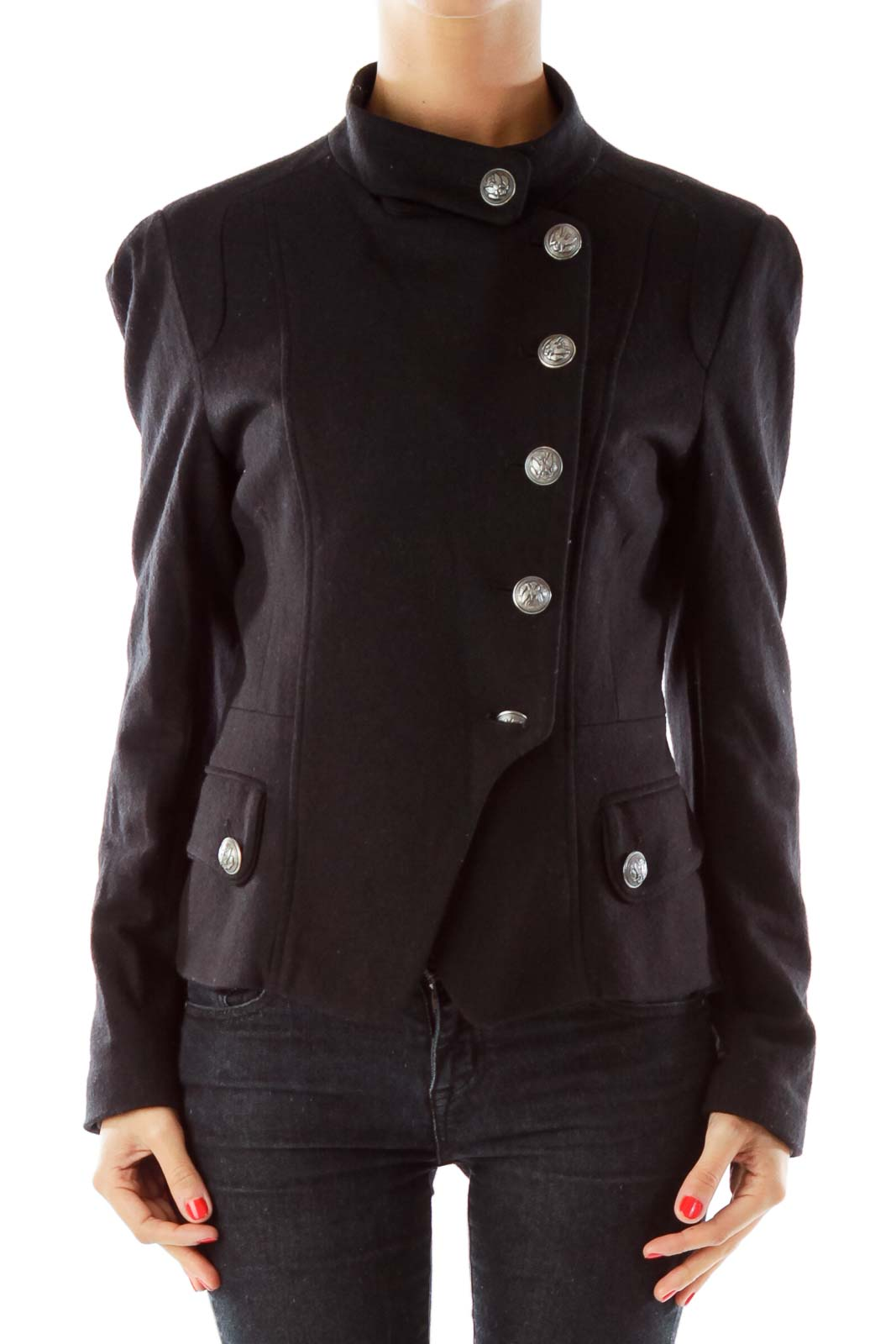 Black Wool Double-Breasted Military Jacket