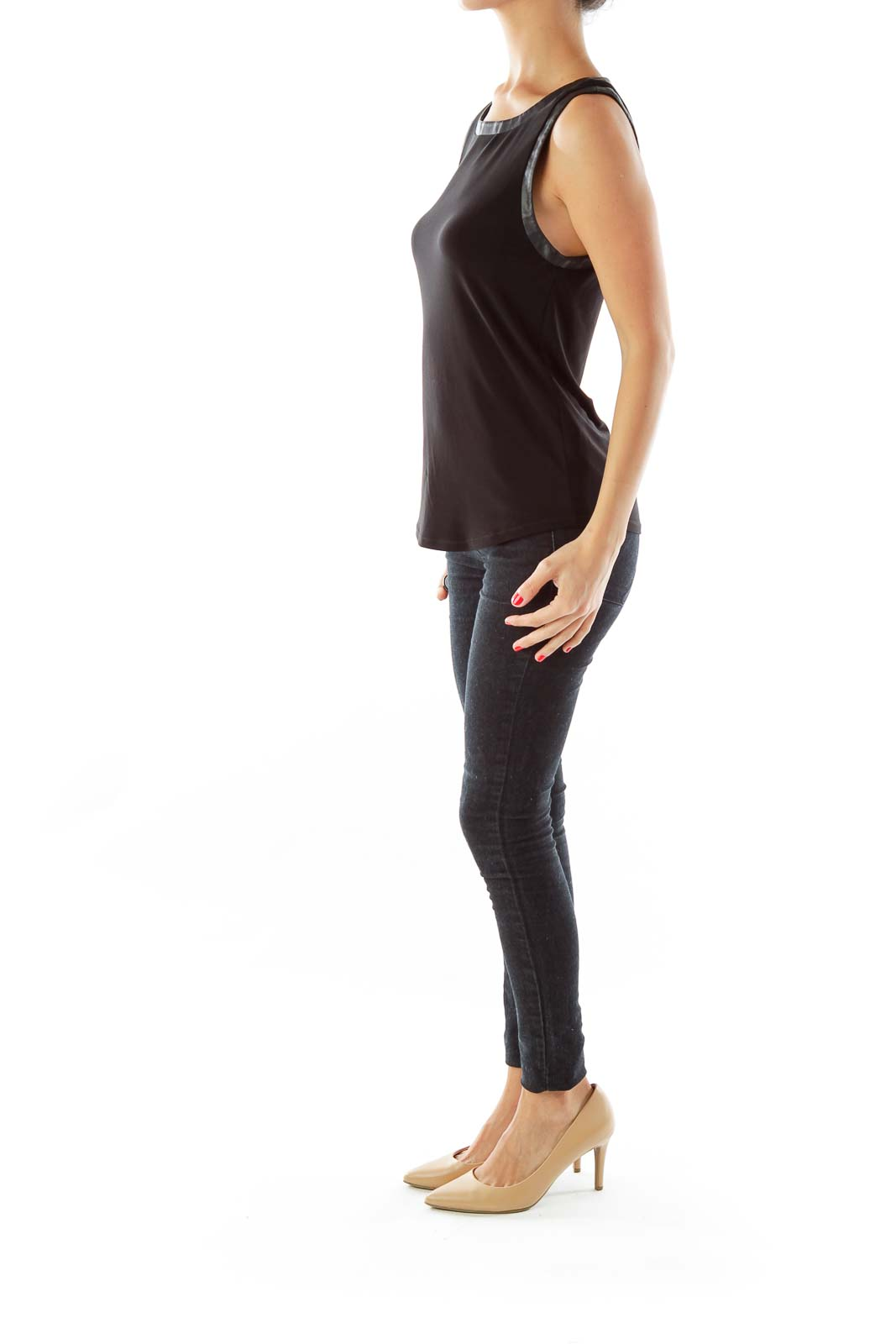 Black Faux Leather Trim Tank
