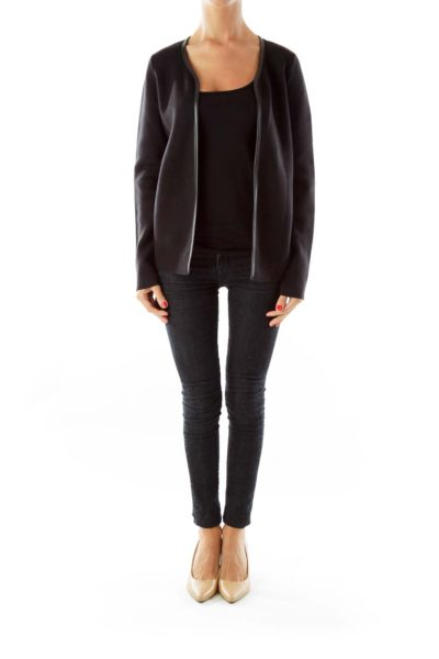 Black Leather Trim Open Cardigan