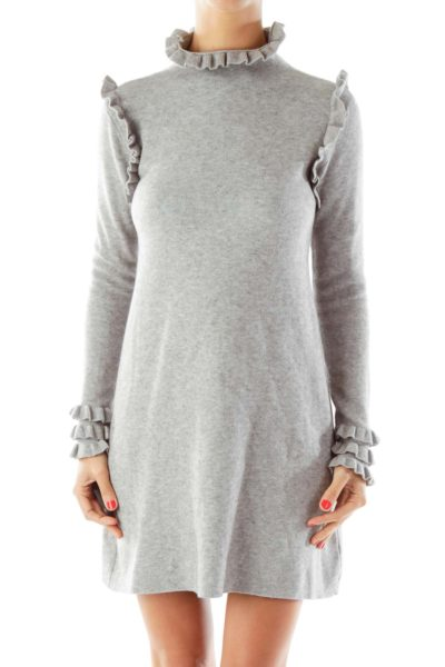 Gray Knit Dress, Ruffle Detail