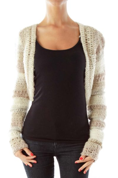 Beige Crocheted Cropped Sweater