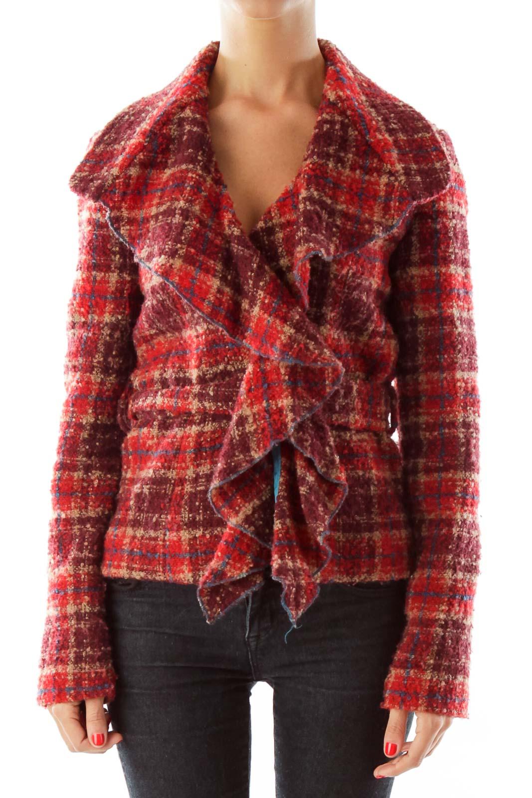 Red Tweed Belted Jacket