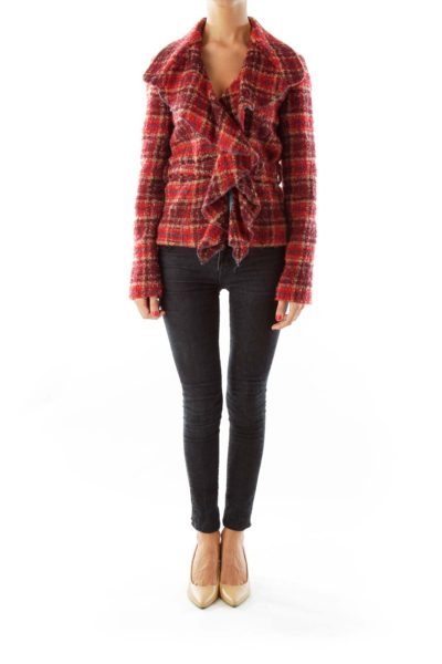 Red Tweed Belted Jacket