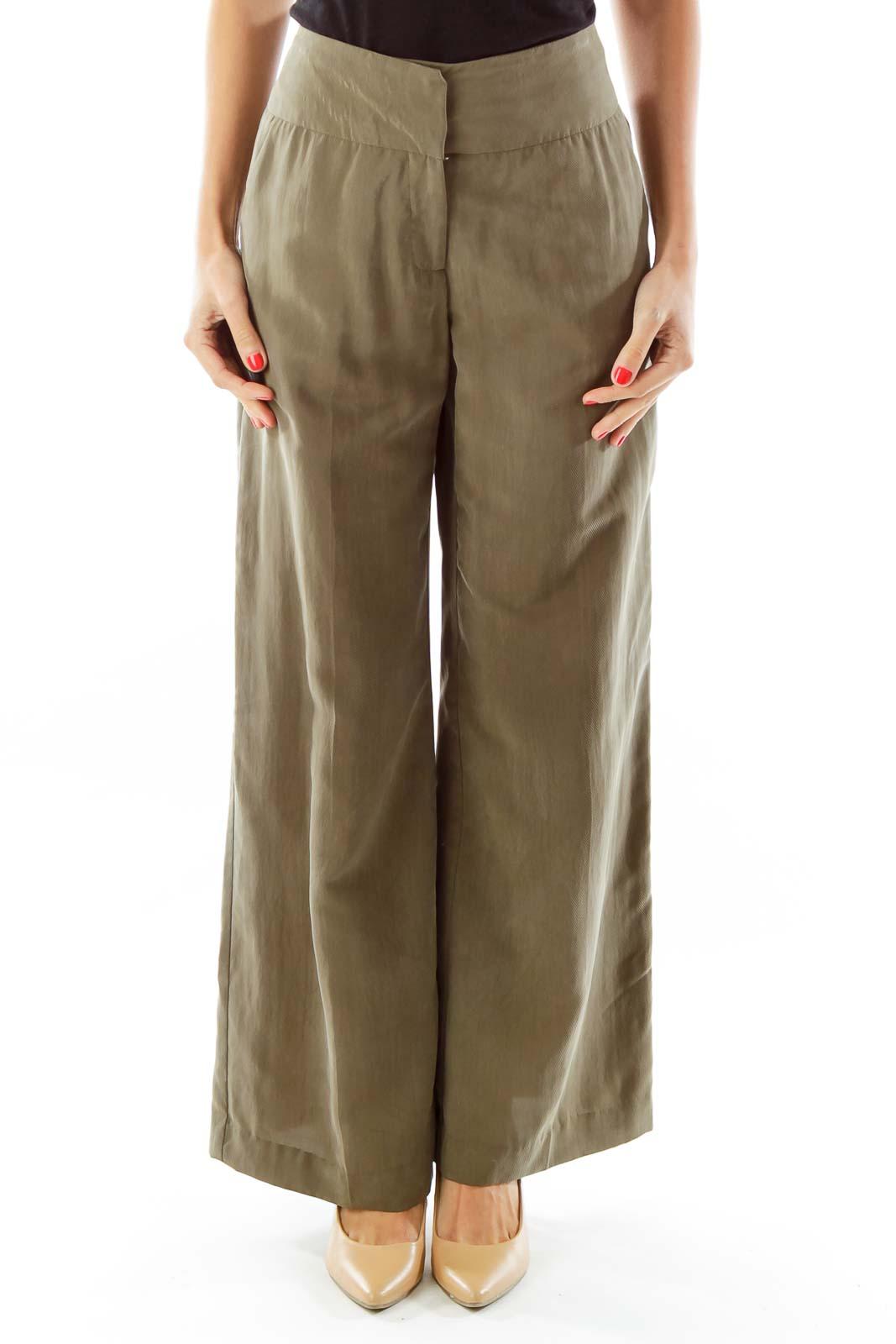 Olive Green Wide-Leg Pants